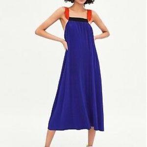 ZARA Royal Blue Pleated Maxi Dress With Straps S